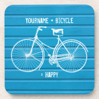 You Plus Bicycle Equals Happy Blue Wood Planks Coasters