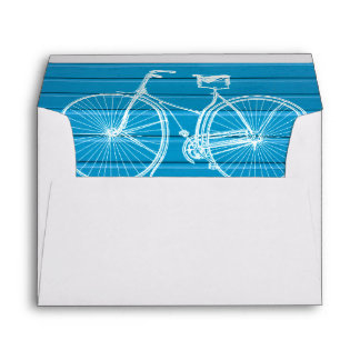 You Plus Bicycle Equals Happy Blue Wood Planks Envelopes