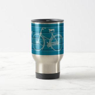 You Plus Bicycle Equals Happy Blue Wood Planks Travel Mug