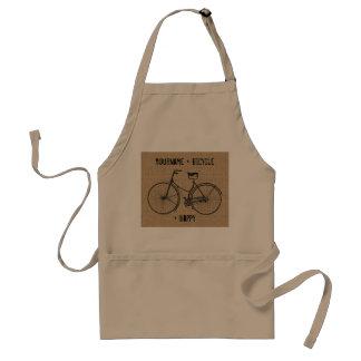 You Plus Bicycle Equals Happy Natural Burlap Sack Adult Apron