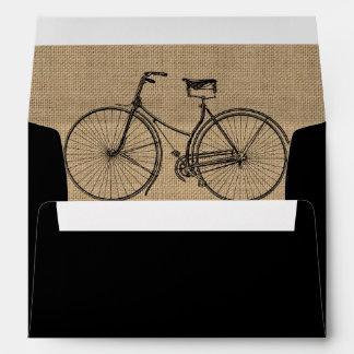 You Plus Bicycle Equals Happy Natural Burlap Sack Envelope