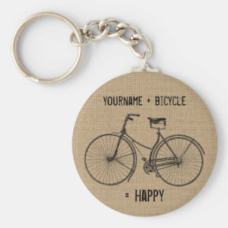 You Plus Bicycle Equals Happy Natural Burlap Sack Keychain