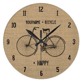 You Plus Bicycle Equals Happy Natural Burlap Sack Large Clock