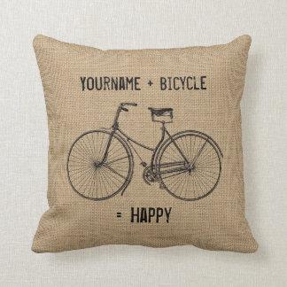 You Plus Bicycle Equals Happy Natural Burlap Sack Throw Pillow
