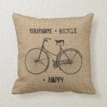 You Plus Bicycle Equals Happy Natural Burlap Sack Throw Pillows