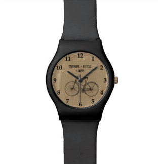 You Plus Bicycle Equals Happy Natural Burlap Sack Watches