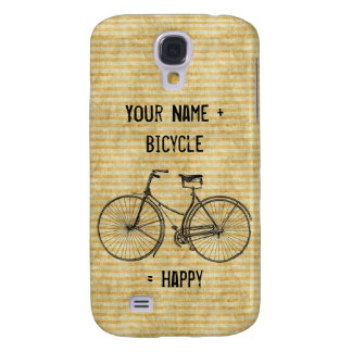 You Plus Bicycle Equals Happy Vintage Bike Yellow Galaxy S4 Cover