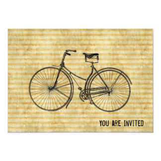 "You Plus Bicycle Equals Happy Vintage Bike Yellow 5"" X 7"" Invitation Card"