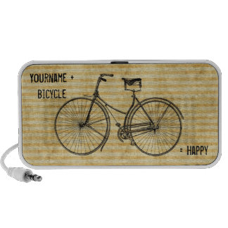 You Plus Bicycle Equals Happy Vintage Bike Yellow Portable Speaker