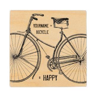 You Plus Bicycle Equals Happy Vintage Wheels Bike Maple Wood Coaster