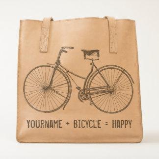 You Plus Bicycle Equals Happy Vintage Wheels Bike Tote
