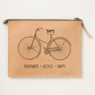 You Plus Bicycle Equals Happy Vintage Wheels Bike Travel Pouch