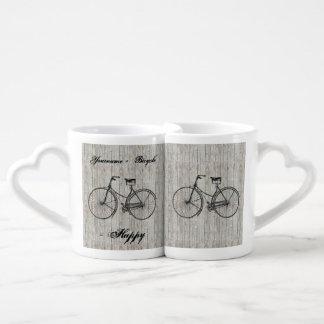 You Plus Bicycle Equals Happy Vintage Wooden Plank Coffee Mug Set