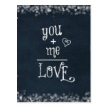 You Plus Me equals Love quote on Chalkboard Postcard