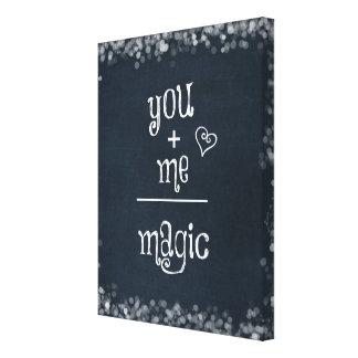 You Plus Me equals Magic Math on Chalkboard Canvas Print