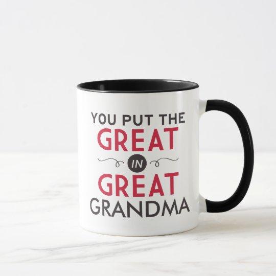 you put the great in great grandma mug zazzle com