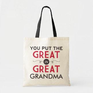 You Put the Great in Great Grandma Tote Bag