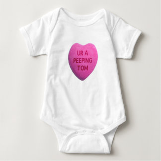 You're a Peeping Tom Pink Candy Heart Baby Bodysuit