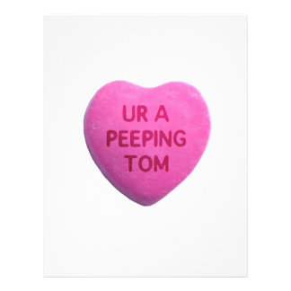 You're a Peeping Tom Pink Candy Heart Custom Flyer