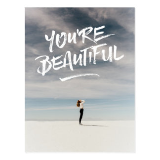 You're Beautiful Trendy Typography Photo Template Postcard