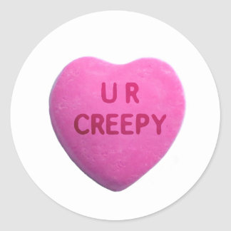 You're Creepy Pink Candy Heart Sticker