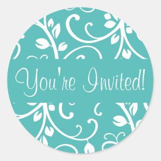 You re Invited Floral Vine Envelope Sticker Seal