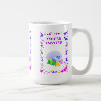 """you""""re invited, parcels classic white coffee mug"""