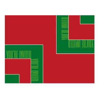 """""""You're Invited"""" Red/Green Color Corner (MB) Postcard"""