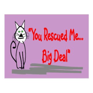 """You Rescued Me, Big Deal""--Cat Lovers Gifts Postcard"