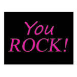 You Rock! Pink and Black Post Card