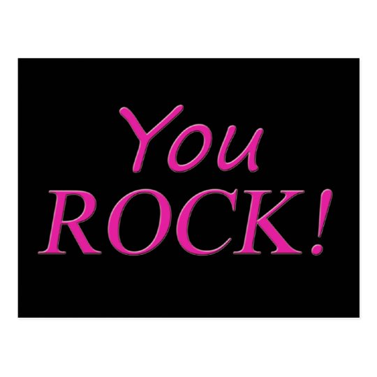 You Rock! Pink and Black Postcard