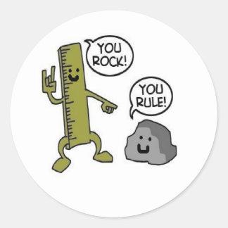 you rock you rule classic round sticker