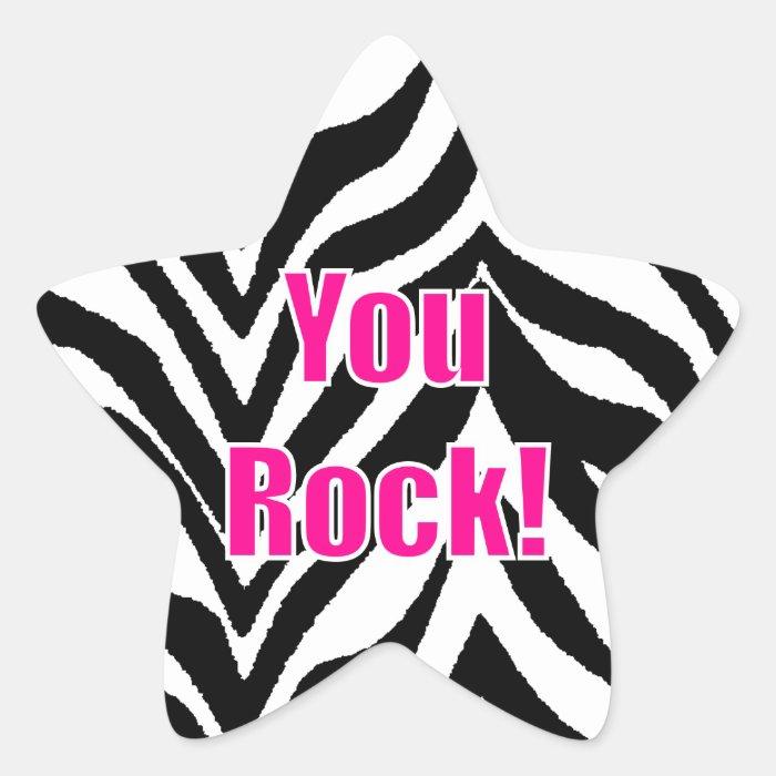 You Rock! Zebra Print Star Star Sticker