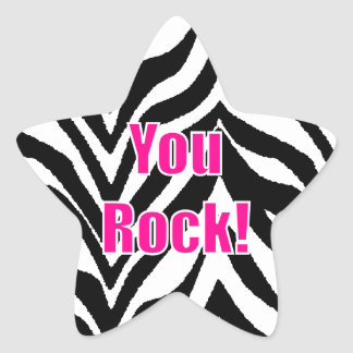 You Rock Zebra Print Star Star Stickers