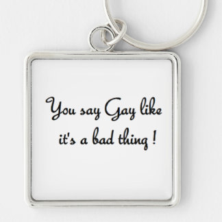 you say gay large square keyring