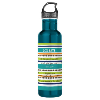 YOU SAY / GOD SAYS -- Inspirational Bible Verses Stainless Steel Water Bottle