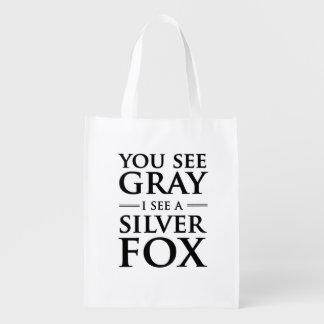You See Gray, I See a Silver Fox Grocery Bags