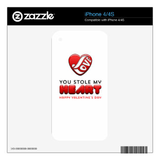 You stole my heart - Happy Valentine's Day Decals For iPhone 4