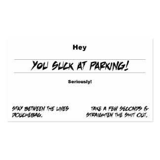 You Suck At Parking Business Card Templates