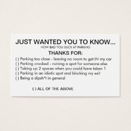 Bad parking business cards templates zazzle you suck at parking business card colourmoves