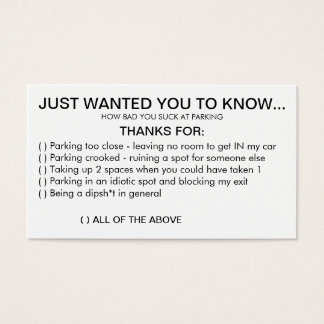 Witty image in bad parking cards printable