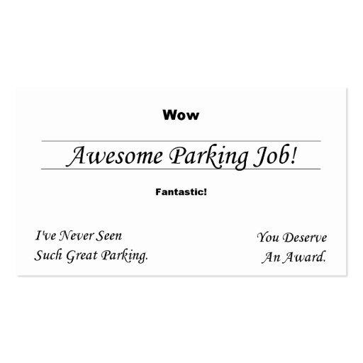 you at parking business card template zazzle