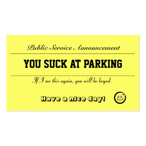 You Suck At Parking Cards Business Card