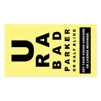 You Suck At Parking Fake Ticket Eye Test Double-Sided Standard Business Cards (Pack Of 100)