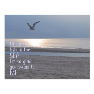 Beach Themed You swam to me - Photography & quote postcard