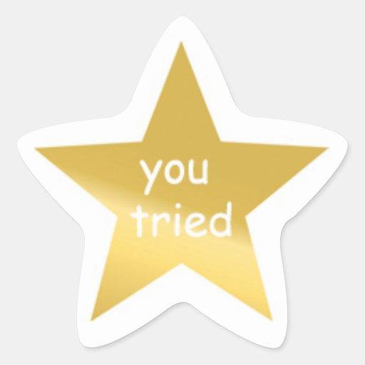 gold star sticker great job