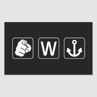 You W Anchor Rectangle Stickers