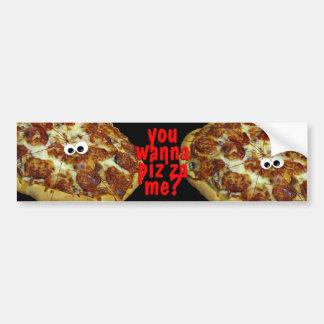you wanna pizza me? humorous parody bumper sticke bumper sticker