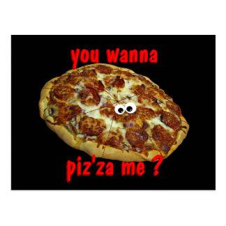 'you wanna piz'za me?' humorous parody Postcard