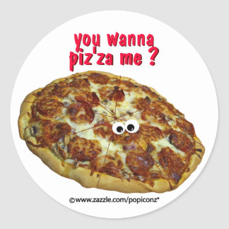 'you wanna piz'za me?' humorous parody Sticker